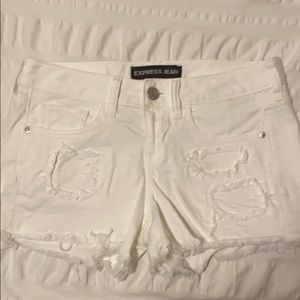 Express Distressed White Jean Shorts